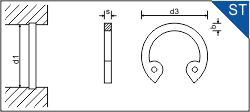 RETAINING WASHER STEEL FOR BORES DIN 472 [974]