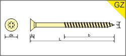 POZIDRIVE PARTIAL THREAD STEEL YELLOW ZINC PLATED [315]